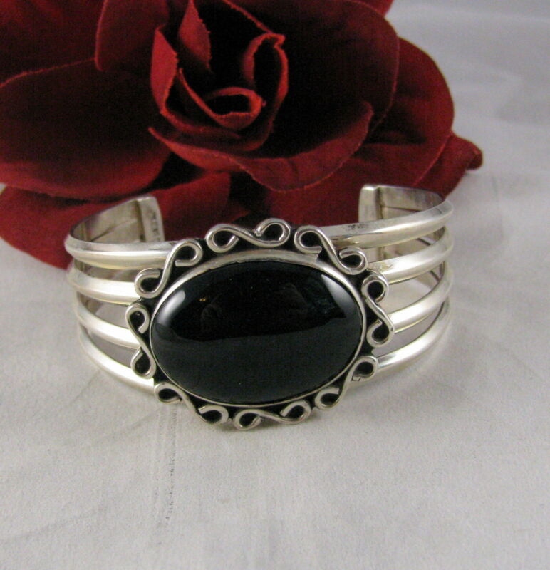 Sterling Silver & Onyx Mexco  Cuff  Bracelet FERAL CAT RESCUE