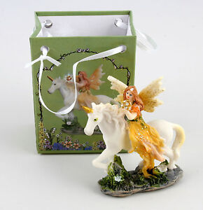 Mini Fairy and Unicorn Figurine/Ornament in Gift Bag