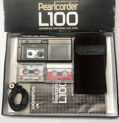 Olympus L100 Pearlcorder Microcassette Voice Recorder Vintage Wbox Case