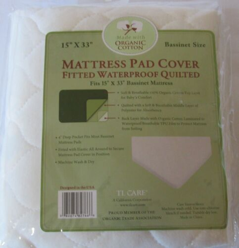 TL Care Organic Cotton Bassinet Quilted Mattress Pad Cover waterproof new #82766