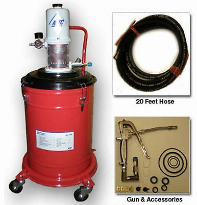 5 Gallons Air Operated High Pressure Grease Pump W20FT Hose,U-joint & Grease GUN