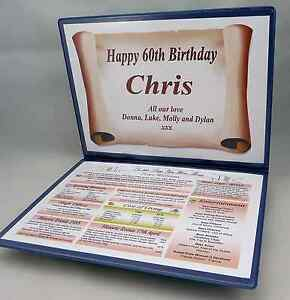 HAPPY 65TH BIRTHDAY GIFT -THE YEAR YOU WERE BORN - PERSONALISED with FOLDER