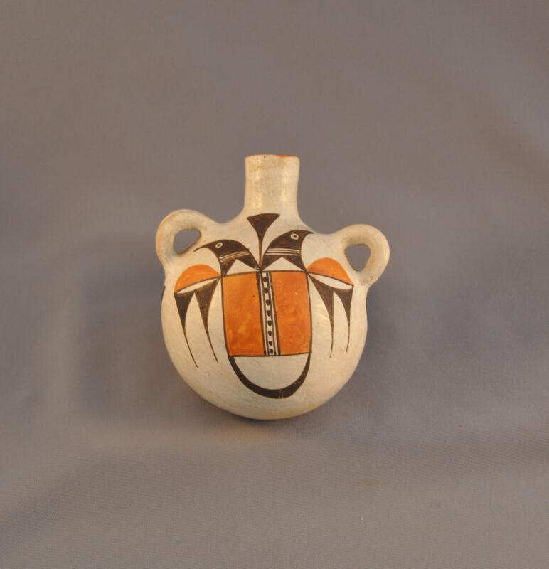 OLD ACOMA INDIAN PUEBLO CANTEEN POT - DOUBLE THUNDERBIRD & SQUASH BLOSSOM DESIGN
