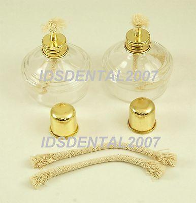 2 Pcs Glass Alcohol Burner Alcohol Lamp Dental Lab Equipment 2 Pcs Extra Wicks