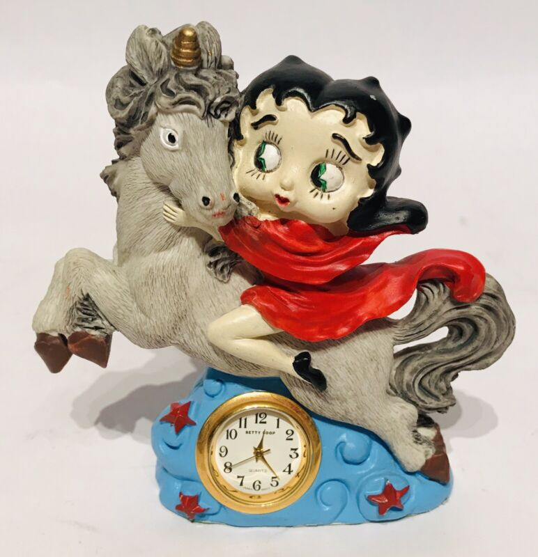 Vintage Betty Boop Riding a Unicorn Desk Clock
