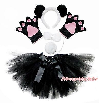 Halloween Party Kids Drama Panda Headband Paw Tail Bow Black Gauze Skirt Costume - Panda Paws Costume