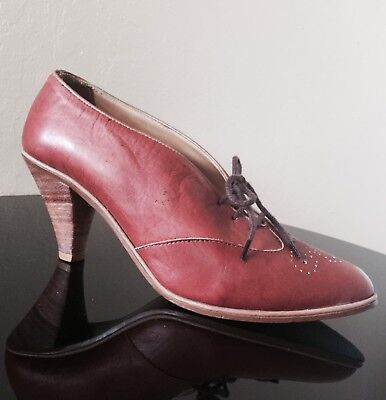 VTG 60's Quali Craft Cherry Brown Leather Bootie Lace Up Heels Sz 6