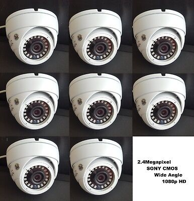 - Set (8) HD-TVI 2.4MP 1080p HD  CMOS Outdoor IR Dome Security Cameras 3.6MM