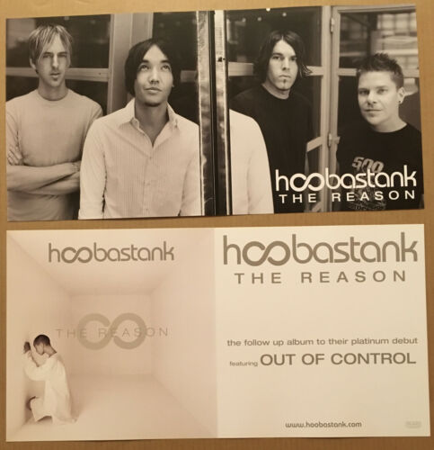 HOOBASTANK Rare 2003 DOUBLE SIDED PROMO POSTER FLAT for Reason CD MINT 24x12 USA