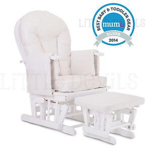 WHITE WOOD - WHITE SUPREMO BAMBINO Nursing Glider Rocking Maternity Chair Stool