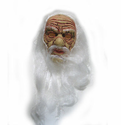 Old Man Wizard Adult Halloween Mask & White