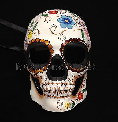 Halloween Red Skull Mask (Men Boys Sugar Skull RED BLUE Masquerade Mask Bachelor Costume Halloween)