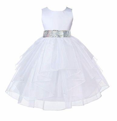 NWT ORGANZA WHITE COMMUNION BRIDESMAID PAGEANT RECITAL WEDDING FLOWER GIRL DRESS