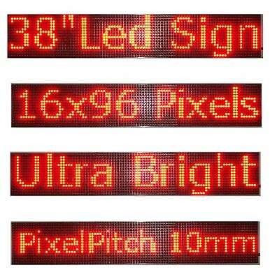 Wifi Programmable Led Sign 38x6.5 - Red Scrolling Message Board
