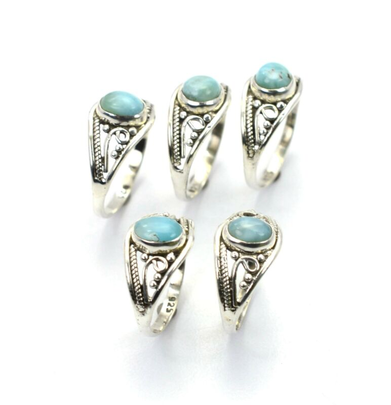 WHOLESALE 5PC 925 SOLID STERLING SILVER BLUE LARIMAR RING LOT C130
