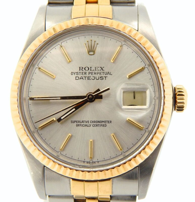 Rolex Datejust Mens 2tone 18k Gold Stainless Steel Silver W/ Jubilee Band 16013