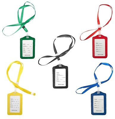 - Lanyard ID Holder Badge Neck Strap PU Leather Pass Credit Card Business Strap