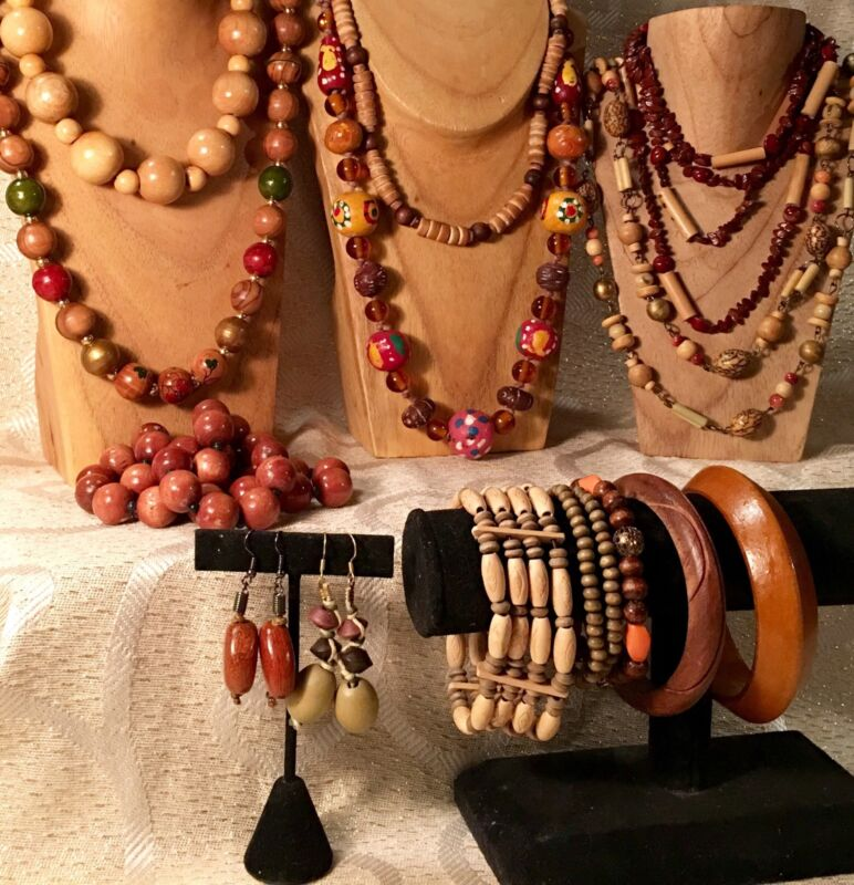 Lots of WOODEN BEADS/TRIBAL Mixed Jewelry-Vtg-Now•Necklace*Bracelet*Earring a53
