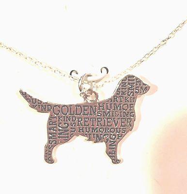 - Sterling Silver Golden Retriever Silhouette Charm Pendant Necklace W 18
