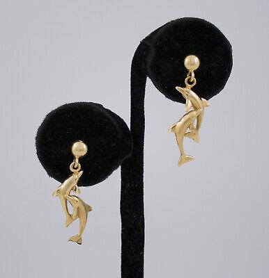 14k Gold Dolphin Dangle - 14k Yellow Gold Double Dolphin Drop Dangle Earrings For Pierced Ears