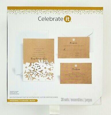 Celebrate It Wedding Invitation Kit Set of 30 Invites & RSVP Cards Floral Design