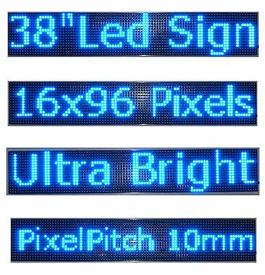 38x 6.5 Led Sign Programmable Scrolling Window Message Display Blue Color P10
