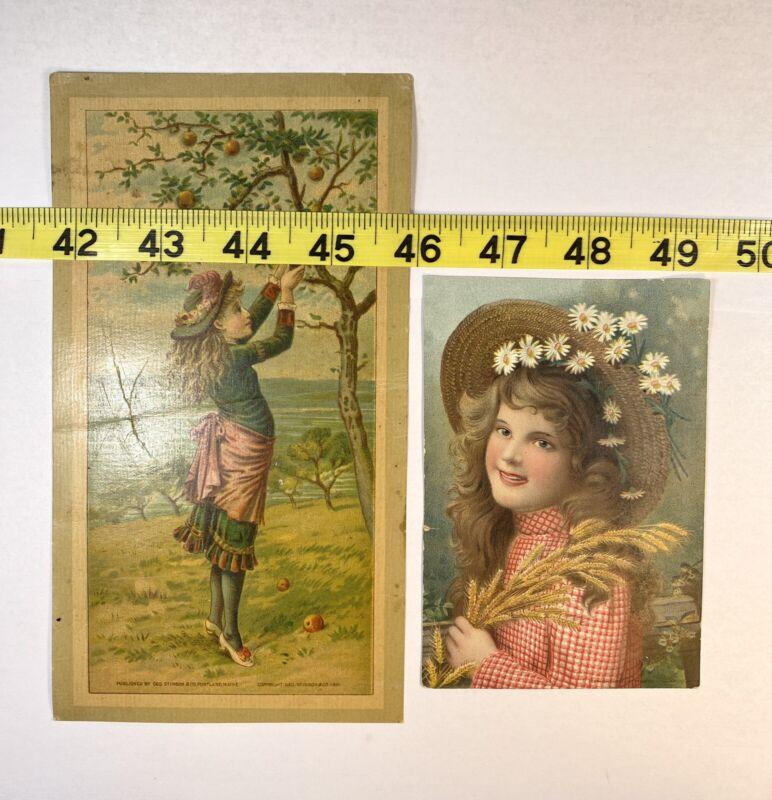 Antique 1881 Geo Stinson & Co Litho Print Girl Picking Apples Girl W/ Straw (9)