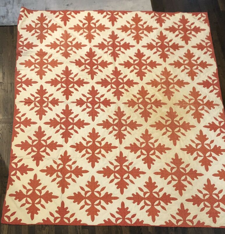 Antique Red And White Hand Sewn Quilt, Oak Leaf Pattern