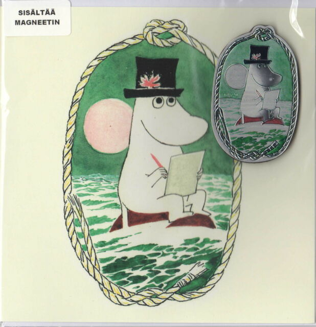Moomin Tove 100 Greeting Card with Envelope and Aluminium Magnet Pappa Karto