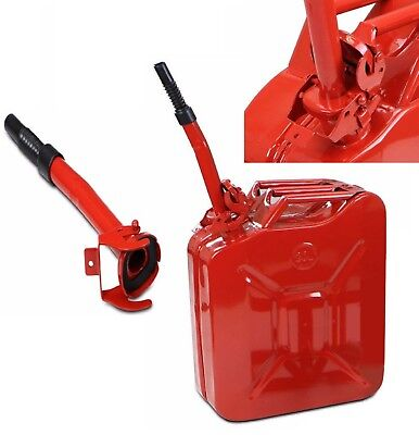 Jerry Can 5 Gallon 20l Gas Gasoline Fuel Army Military Metal Steel Tank Nato Red