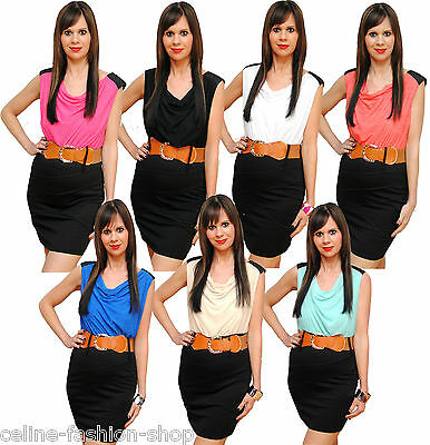 kleid Disco Kleid Partykleid Dress Gürtel Strass 34 36 38 (Disco Kleid)