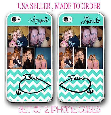 PERSONALIZED CUSTOM PHOTO MINT CHEVRON BEST FRIEND CASE FOR iPhone X 8 7 6S 6 SE