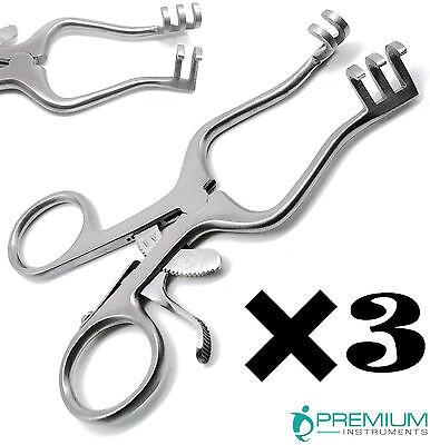 3 Pcs Surgical Weitlaner Retractors 4.5 Blunt 3x4 Prongs Veterinary Instruments