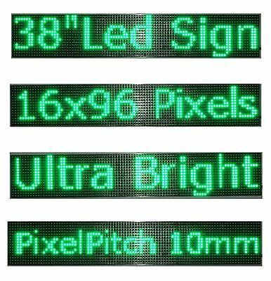 38x 6.5 Led Sign Programmable Scrolling Window Message Display Green Color P10