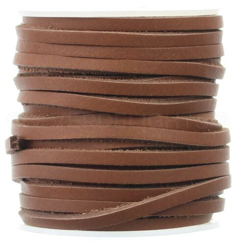 """1/8"""" Brown Leather Flat Cord - 3.5mm Genuine Cowhide Leather Strap 25 50 Ft"""