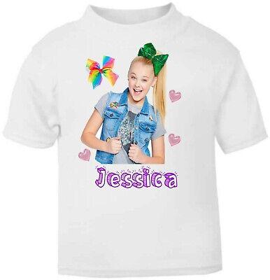 Personalised Kids Jojo Siwa Soft T-Shirt Childrens Short Sleeve Girls 2 Designs
