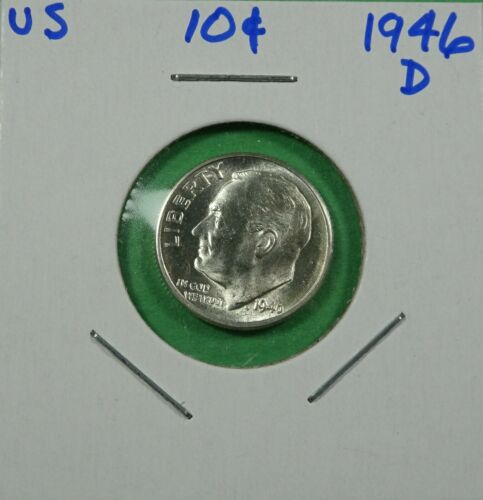 1946-D Roosevelt Dime 90% Silver Uncirculated - Free Shipping
