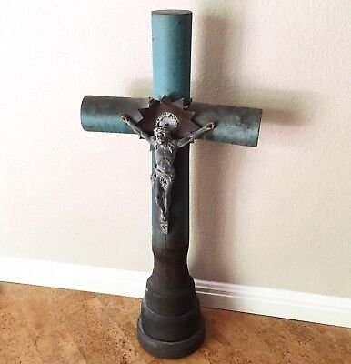 "Rare Antique WWI Trench Art Mortar Shell Crucifix, 32"" Likely French or German"