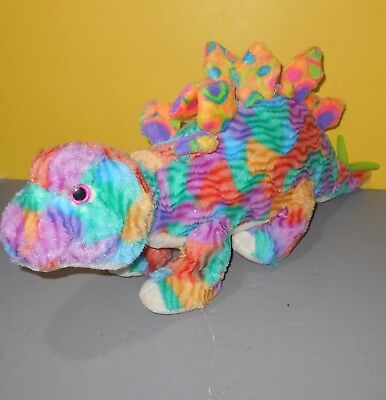 Gitzy 24 Inch Long Stuffed Plush Tie Dyed Stegosaurus Dino Dinosaur Creature