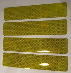 4 GENUINE OEM JOHN DEERE JD5921 TRACTOR REFLECTORS 9 x 2 ADHESIVE BACK YELLOW