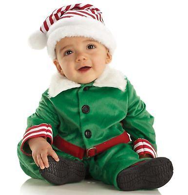 Underwraps Christmas Elf Boy Girl Costume Baby Toddler Child Jumpsuit Hat Xmas - Toddler Elf Costume