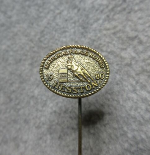 Vintage 1980 Hesston national finals rodeo hat pin stick pin tie tac lapel pin