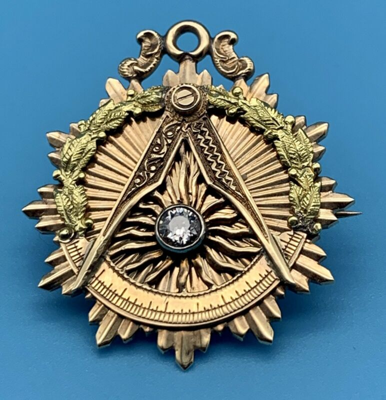 """14kt 2 color gold masonic watch Fob/ Pendant/ Pin with Diamond """"W"""" Master 1919"""