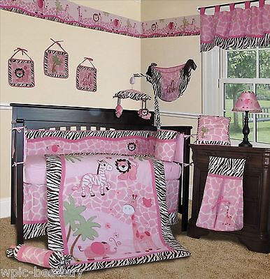 Baby Boutique - Pink Safari - 14 pcs Girl Crib Bedding Set incl. Music Mobile](Baby Girl Safari)