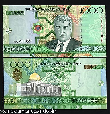 TURKMENISTAN 1000 MANAT P20 2005 BUNDLE HORSE NIYAZOV UNC CURRENCY 100 BILL NOTE