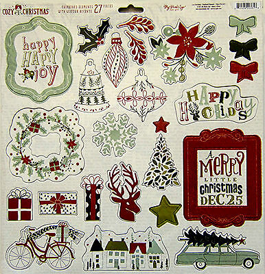 """My Mind's Eye """"Cozy Christmas""""  12x12 Chipboard Elements with glitter - Save 40%"""