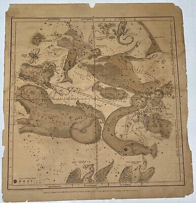 1835 Map of the Constellations By F.J. Huntington