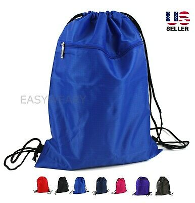 Cinch Sack Backpack (Drawstring Backpack Zippered Pocket Sport Gym Waterproof Cinch Sack Pack)