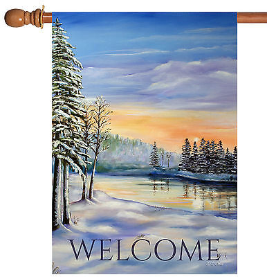 NEW Toland - Winter River Welcome - Snowy Outdoor Scene House Flag