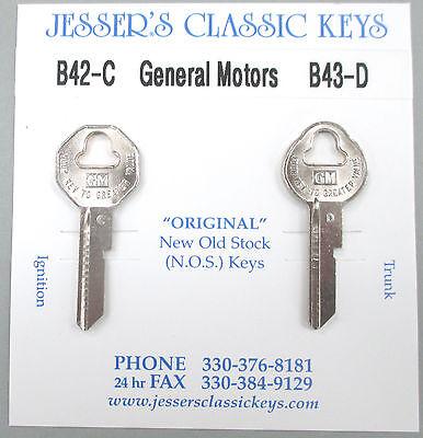 Original 1968 GM Cadillac Keys B-42-C B-43-D NOS Key Set '68 Caddy